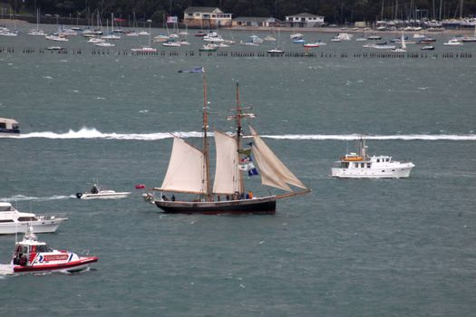 AUCKLAND-October 25: Tall ship sailing in from Australia arriving in Waitemata Harbour in Auckland, New Zealand on Friday October 25, 2013.