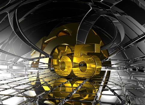 number sixty five in abstract futuristic space - 3d illustration