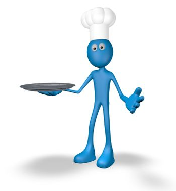 cartoon cook with tablet - 3d illustration