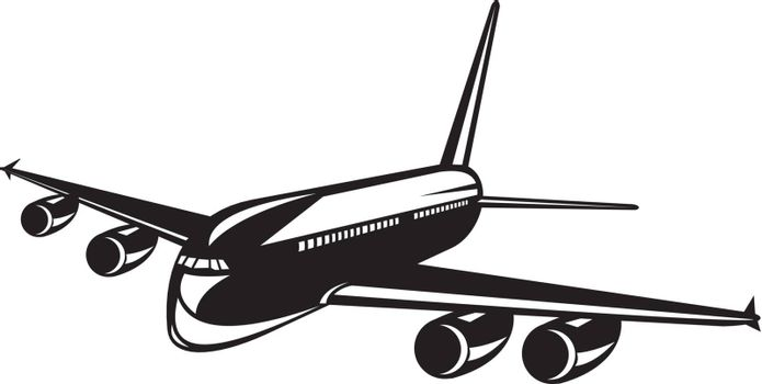 Illustration of a commercial jet plane airliner silhouette on isolated background done in retro woodcut style.