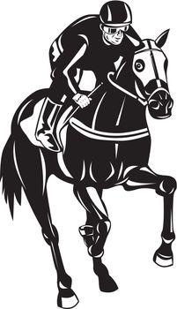 Horse Racing Equestrian Retro Woodcut