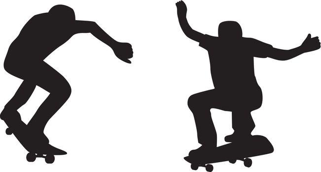 Illustration of skateboarder with skateboard skateboarding silhouettes on isolated white background.