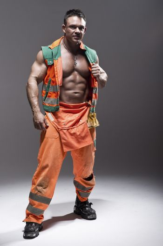 beauty muscular worker man