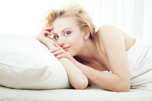 Morning pleasure in the bedroom
