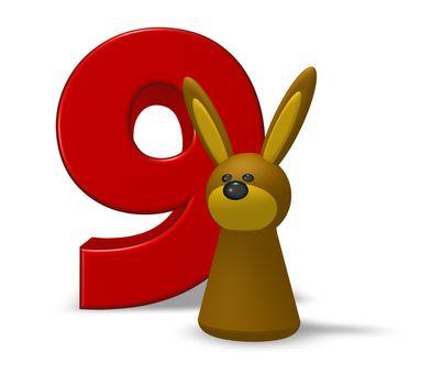 number nine and rabbit - 3d illustration
