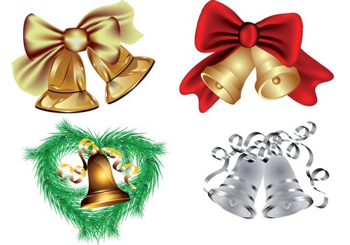 set of christmas bell isolated on white