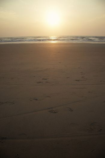 Summer beach during sunset. Vertical photo