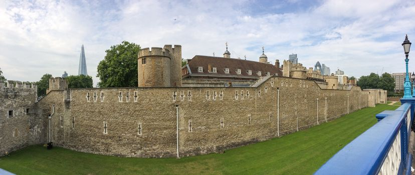 Tower of London, ancient architecture and walls.