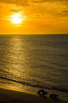 Orange sunset of the Caribbean Sea in La Guajira, Colombia