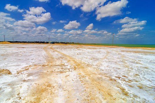 White salt covered coast of Manaure in La Guajira, Colombia