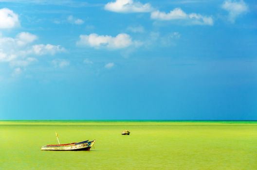 Two boats off the coast in a green sea with a beautiful blue sky