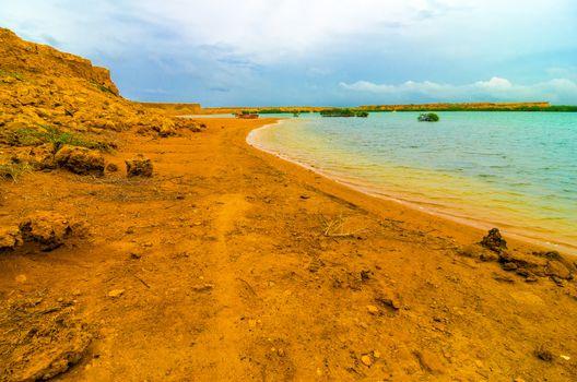 View of the coast in La Guajira, Colombia near Punta Gallinas