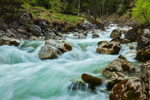 Cascade of Kuhfluchtwasserfall. Farchant, Garmisch-Partenkirchen