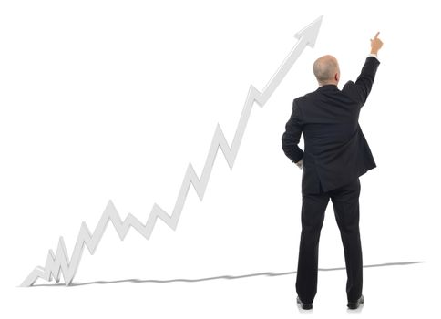 A businessman pointing to a projections chart isolated on a white background