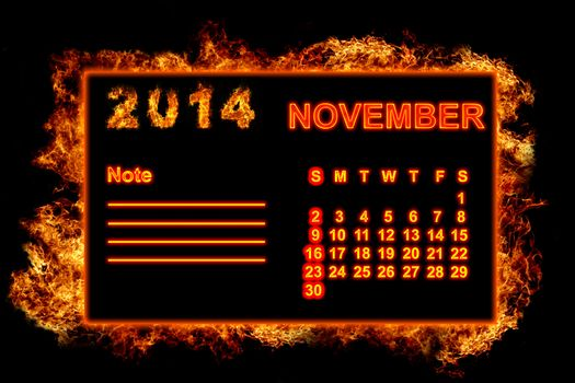 Fire Calendar November 2014