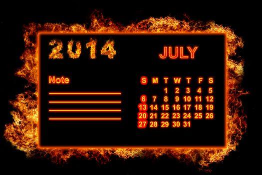 Fire Calendar July 2014
