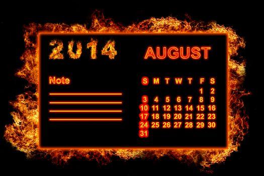 Fire Calendar August 2014