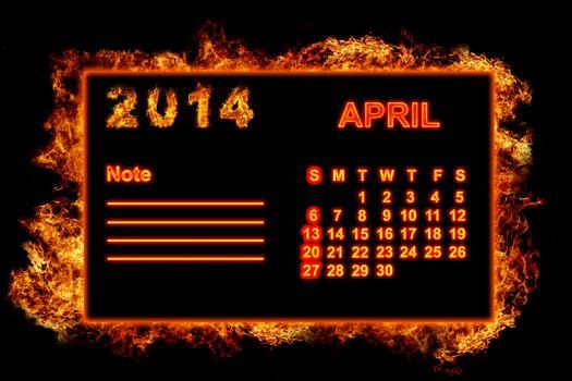 Fire Calendar April 2014
