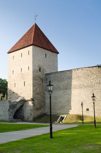 Park at medieval towers of Tallinn, Maiden Tower