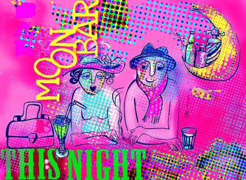 couple in moon buffet illustration