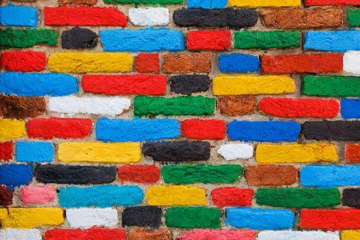 Colorful brick wall. Unique background