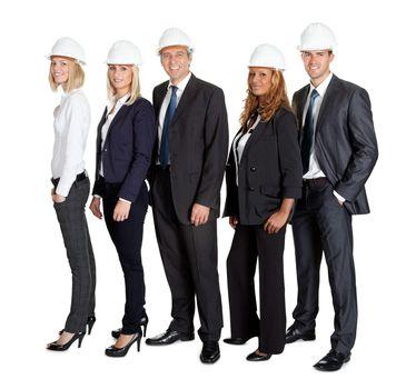 Team of confident civil engineer against white