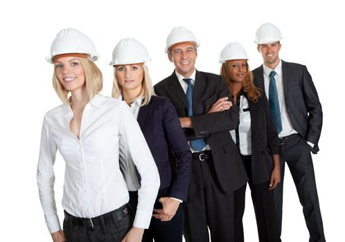 Female civil engineer standing with her team