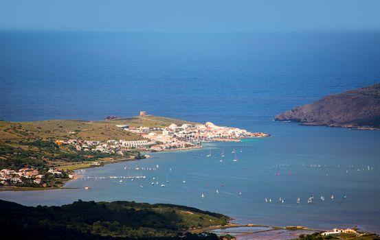 Menorca Fornells aerial view from Pico del Toro