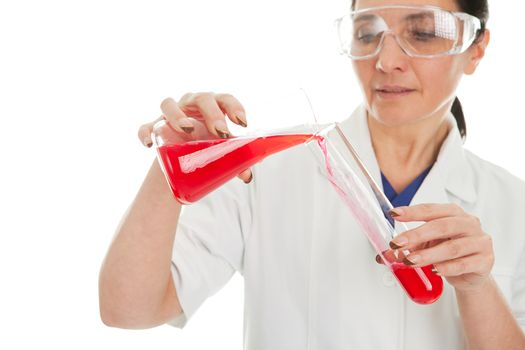 Woman involved in chemical research