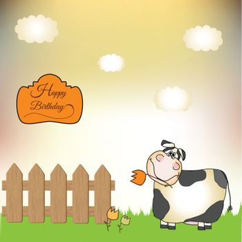 birthday card with cow