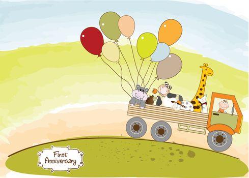 birthday card with toys