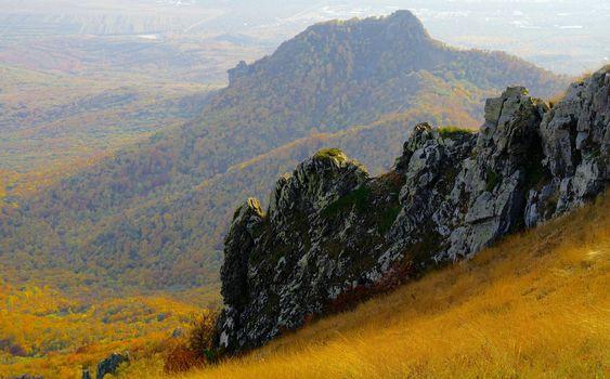 Mount Beshtau Ridges with Variegated Autumn Colors