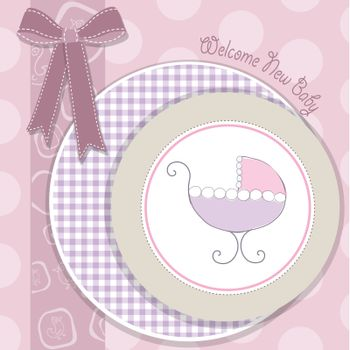 delicate baby girl announcement card
