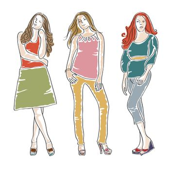hand drawn fashion girls in vector format