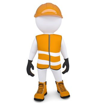3d white man in overalls