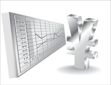 financial background 3d yen sign