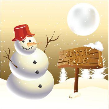 Snowman at North pole