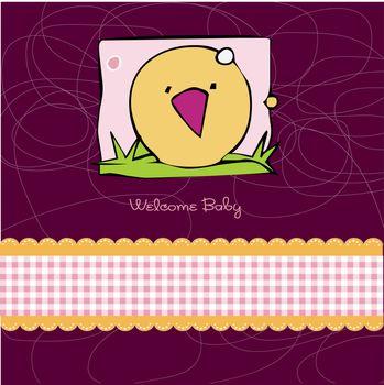 Birth card announcement with kitchen