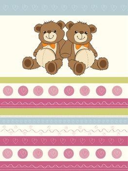 card with a twins teddy bears