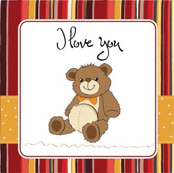 love card with a teddy bear