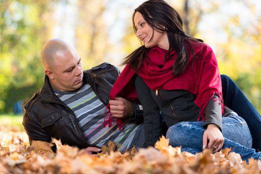 Beautiful Couple Enjoying In The Beautiful Autumn Day