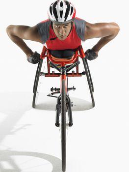 Paraplegic cycler elevated view