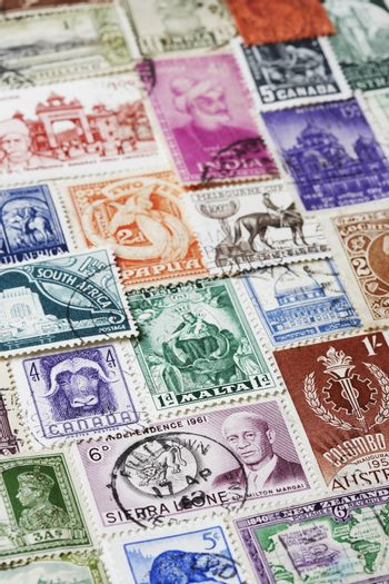 Variety of Postage Stamps full frame