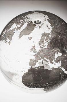 Closeup of globe showing northern hemisphere