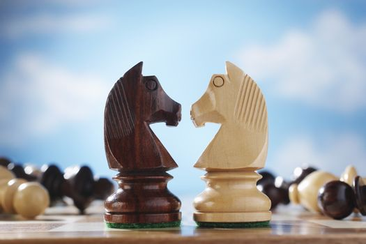 Two knights face to face on chessboard