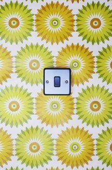 Light switch on flowery wallpaper