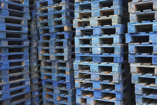 Closeup of stacks of pallets