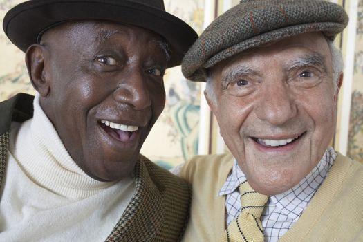 Senior adult men smiling head and shoulders