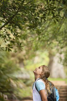 Girl Looking Up at Tree