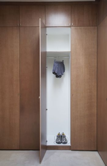 Athletic shoes and running shorts in wardrobe